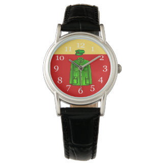 Green Watercolour Chairman Mao Coat and Hat Wrist Watch