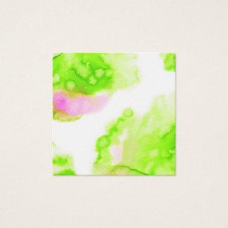 Green watercolour creative design. square business card