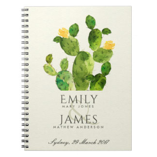 GREEN WATERCOLOUR DESERT CACTUS FLOWER  WEDDING NOTEBOOK