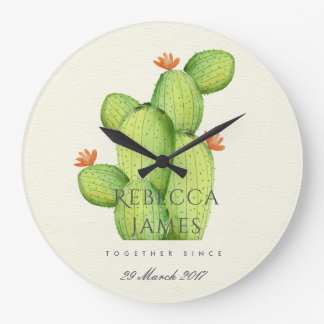 GREEN WATERCOLOUR DESERT CACTUS SAVE THE DATE GIFT LARGE CLOCK