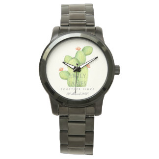GREEN WATERCOLOUR DESERT CACTUS SAVE THE DATE GIFT WATCH
