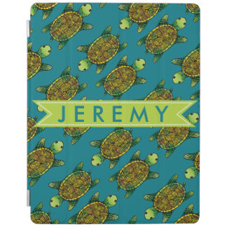 Green Watercolour Painted Turtle Pattern iPad Cover