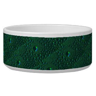 green waterdrops artdeco pattern dog water bowl
