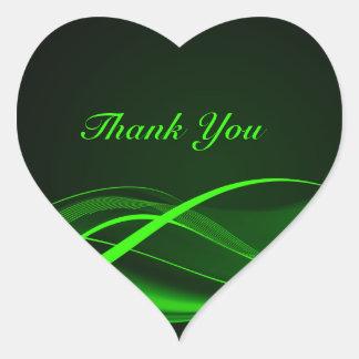 Green Wave Heart Sticker