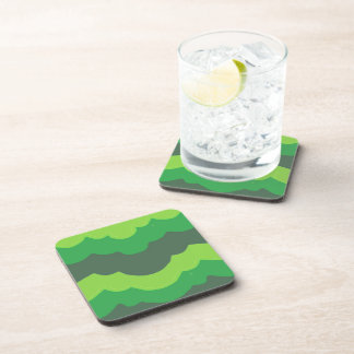 Green Wave Pattern Coasters