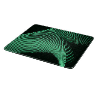 Green waves, curves on black canvas, pattern cutting board