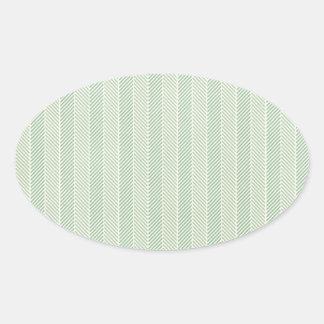 Green Weave Pattern Oval Sticker