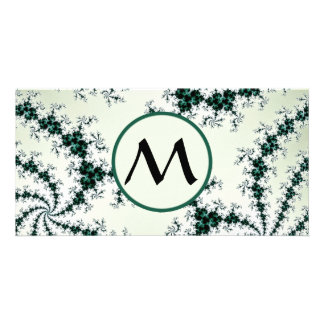 Green Webs with Monogram - delicate fractal lace Picture Card