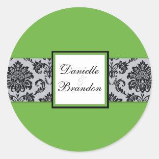 Green Wedding Damask Seal Stickers