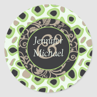 Green Wedding Favor Labels Round Sticker