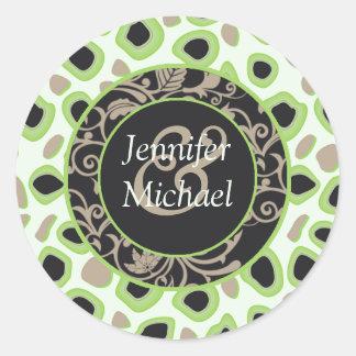 Green Wedding Favor Labels Round Sticker