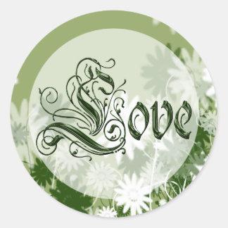 Green Wedding Floral Love Envelope Seal Round Sticker