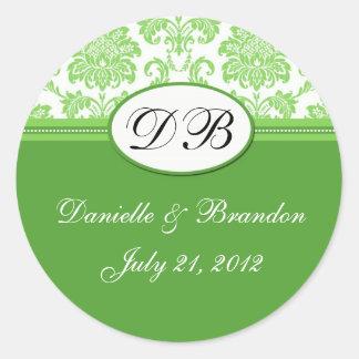 Green Wedding Monogram Damask Seal Sticker