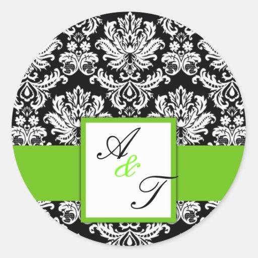 Green Wedding Monogram Damask Seal Round Sticker
