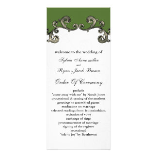 green Wedding program 10 Cm X 23 Cm Rack Card