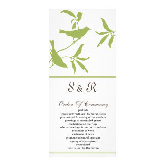 green Wedding program Personalized Rack Card