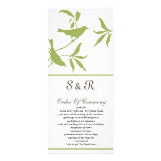 green Wedding program Rack Card