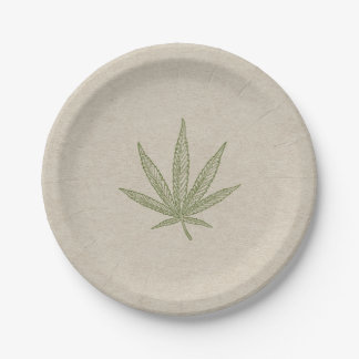 Green Weed Leaf Botanical Natural Wedding Party Paper Plate