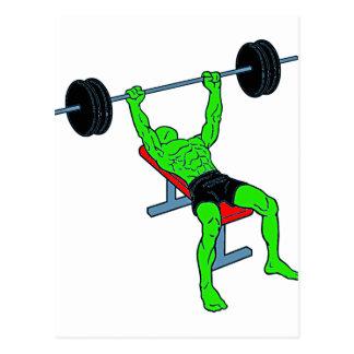 Green Weightlifter Benchpress Postcard