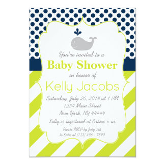 Green Whale Baby Shower Invitation