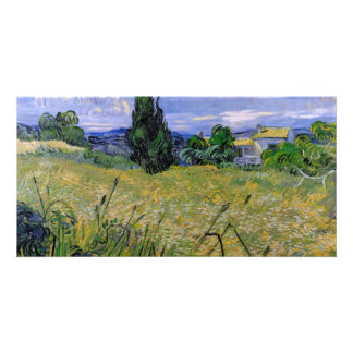 Green Wheat Field with Cypress by Van Gogh Personalised Photo Card