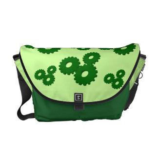 Green Wheels circles theme messenger bag