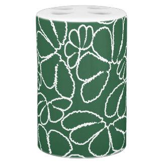 Green Whimsical Ikat Floral Petal Doodle Pattern Bath Set