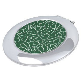 Green Whimsical Ikat Floral Petal Doodle Pattern Compact Mirror