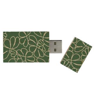 Green Whimsical Ikat Floral Petal Doodle Pattern Wood USB 2.0 Flash Drive