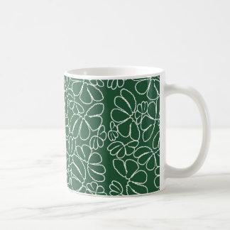 Green Whimsical Ikat Floral Petal Doodle Pattern Coffee Mugs