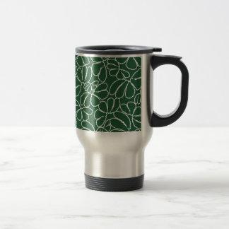 Green Whimsical Ikat Floral Petal Doodle Pattern Mug