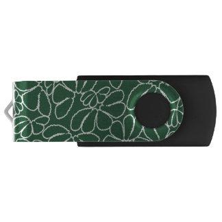Green Whimsical Ikat Floral Petal Doodle Pattern Swivel USB 2.0 Flash Drive