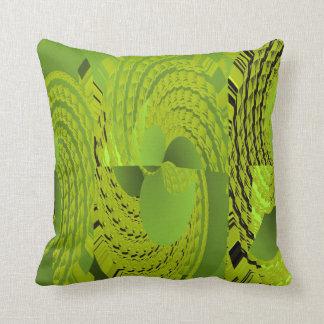 Green Whirl Pattern American MoJo Cushion. Throw Cushion