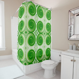 Green White Abstract Swirl Pattern Shower Curtain