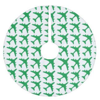 Green white airplane pattern tree skirt