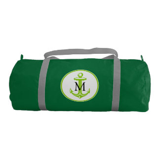 Green White Anchor and Monogram Gym Duffel Bag