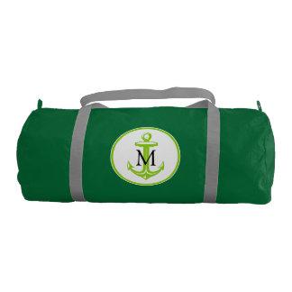Green White Anchor and Monogram Gym Duffel Bag