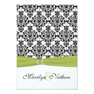 Green, White and Black Damask II Invitation