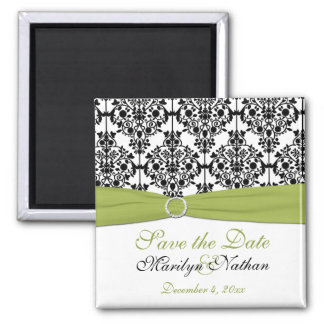 Green, White, and Black Damask Wedding Magnet
