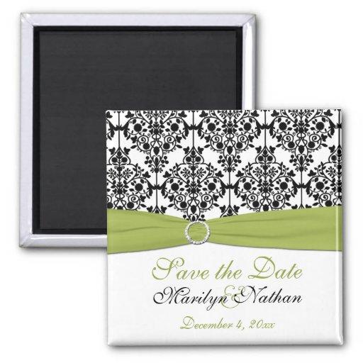Green, White, and Black Damask Wedding Magnet