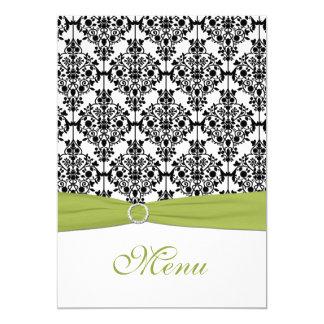 Green, White, and Black Damask Wedding Menu Card