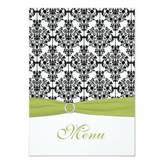 Green, White, and Black Damask Wedding Menu Card Custom Invitation