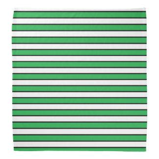 Green, White and Black Stripes Bandana