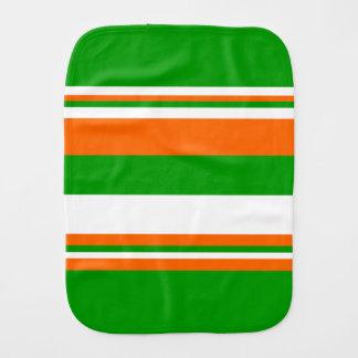 Green, White and Orange Stripes Burp Cloth