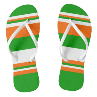 Green, White and Orange Stripes Thongs