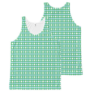 Green, White and Static Pastel Blue Weave All-Over Print Singlet