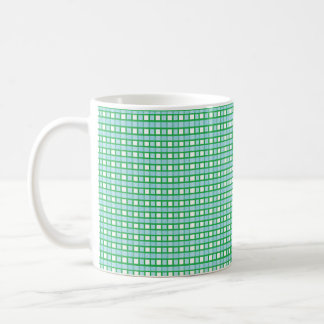 Green, White and Static Pastel Blue Weave Coffee Mug