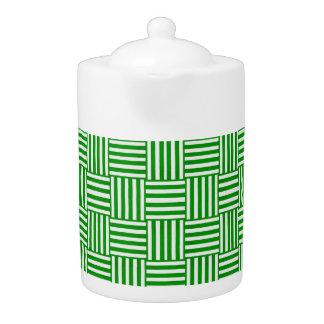 green/white basketweave print Tea Pot