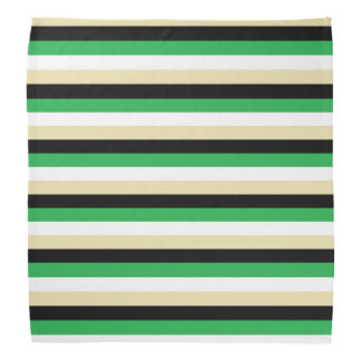 Green, White, Beige and Black Stripes Bandana