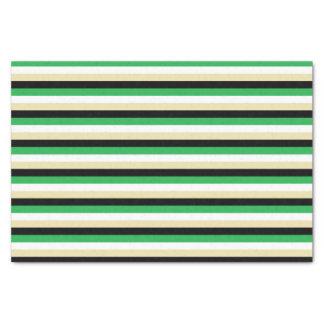 Green, White, Beige and Black Stripes Tissue Paper